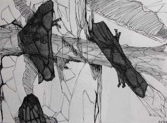 Sin título. Carboncillo y tinta china sobre papel, 23 x 29 cm. 2010