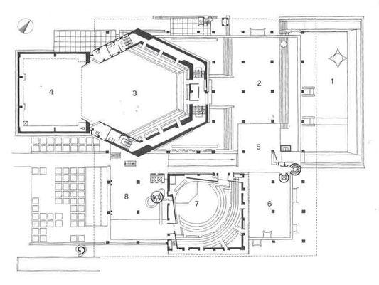 2階平面図 1 テラス 2 大ホールホワイエ 3 客席上部 4 舞台上部 5 レストラン 6 入口ロビー上部 7 小ホール 8 小ホールホワイエ