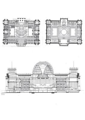 左上 1階平面図 右上 3階平面図 下 断面図