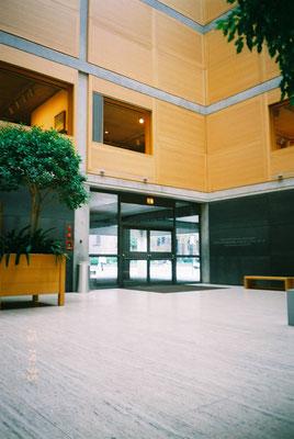 コートから入口方向を見る 床はトラバーチン 1階壁は外壁と同じ 上部壁オーク材