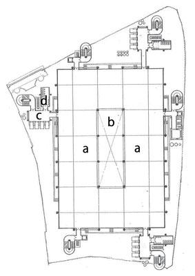 2階~7階平面図 a業務室 b吹抜け c昇降機ホール dトイレ・ユニット