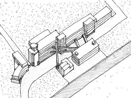 鳥瞰図 後列左から事務棟、工場棟、手前同熱源室、倉庫・中央処理棟