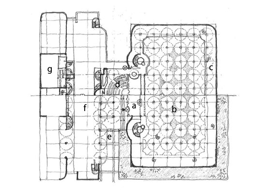 1939年竣工時の平面図 下部1階平面図 上部 2階平面図 a入口ロビー b事務室 c中2階事務室 d集会室兼食堂 e車路 f駐車場 gスカッシュコート