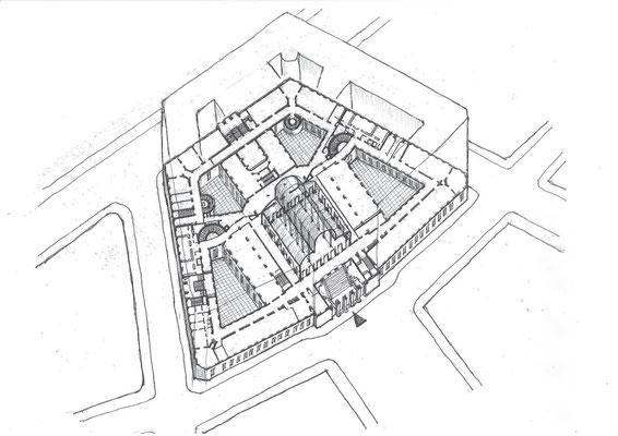 全体の空間構成図(ホール上部のトラスとガラス屋根は省略)