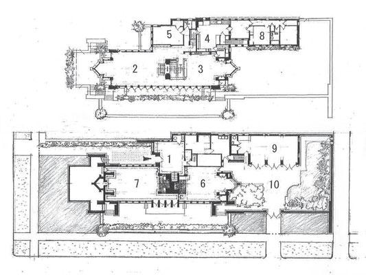 (上)2階平面図 (下)1階平面図 1玄関 2居間 3食堂 4厨房 5客室 6子供遊戯室 7ビリヤード 8使用人室 9ガレージ 10サービスコート