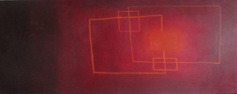 """""""concilium"""", Acryl und Ölkreide auf Leinwand, 90 x 200 cm"""