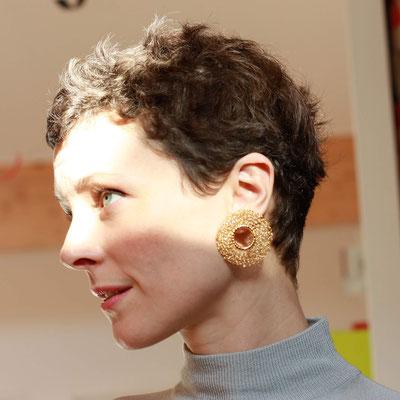 Capiba bijoux Boucles d'oreilles personnalisées au crochet, en laiton doré à l'or fin ( demande de personnalisation à partir du modèle PUCES D'OREILLES OCA) - taille XL