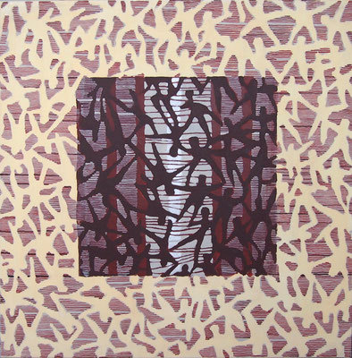 "2014NL002""UMBAU"", Acryl auf Leinen, 90 x 90 cm, 2014"