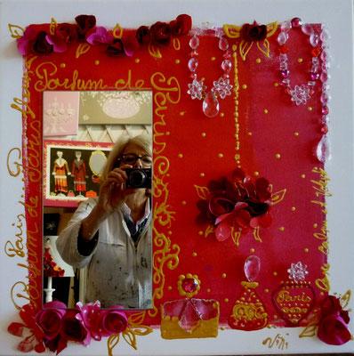 Fleurs et parfums de Paris rouge 60x60