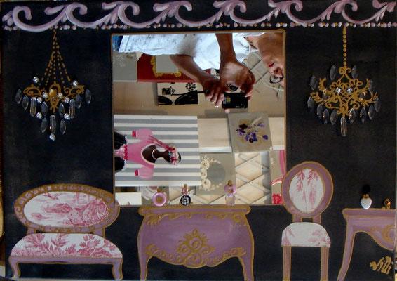 BD Haussman rose miroir 50x70