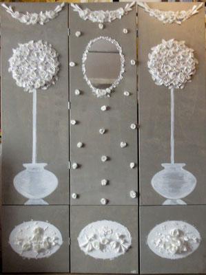 Paravent blanc de lin 4x50x200