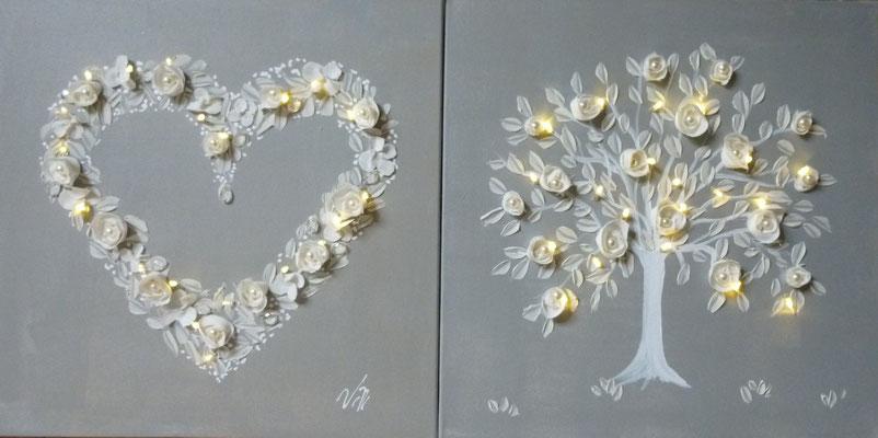 Cœur  et arbre 2x50x50