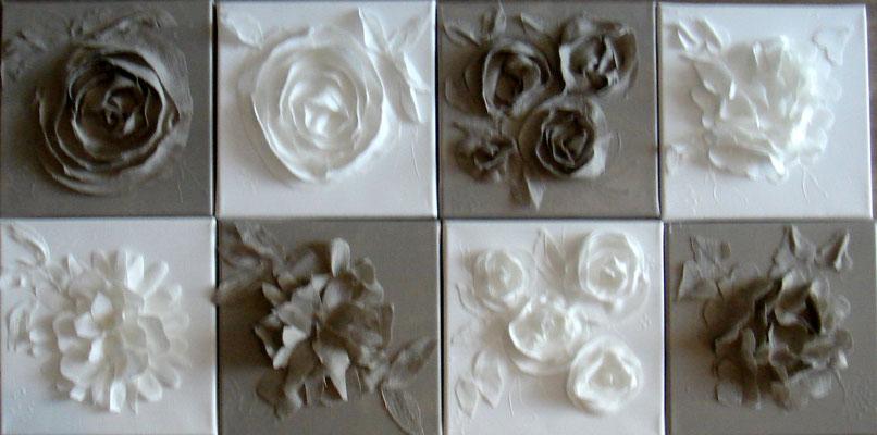 Découpages lin et blanc 4x30x30