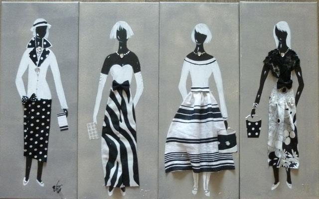 Elegantes noir blanc sur lin 9 4x50x20