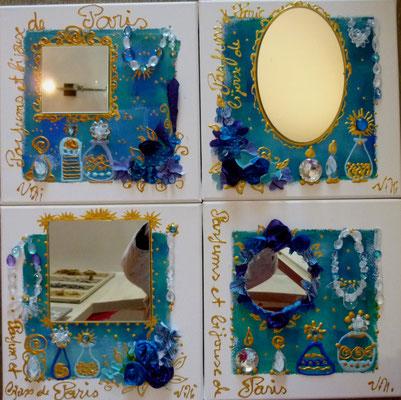 Fleurs et  parfums de Paris bleu  4x30x30