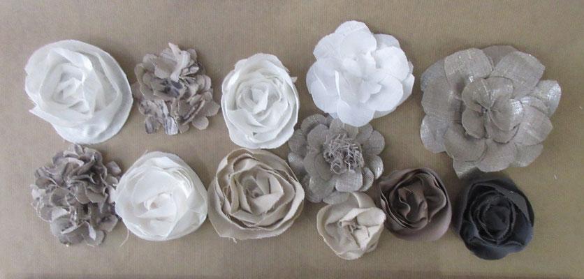 """Set de 12 fleurs à coller """"Fleurs de lin """""""