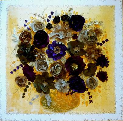 Bouquet sur ocre 90x90