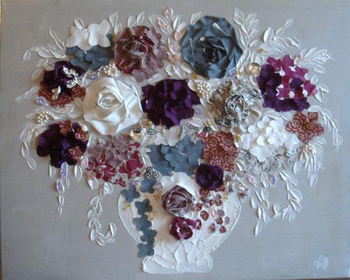 Bouquet parme et gris 100x80