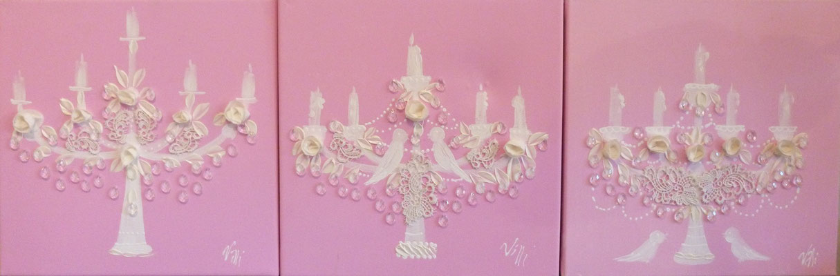 Chandeliers roses 3x40x40
