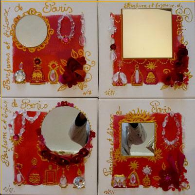 Fleurs et  parfums de Paris rouge 4x30x30