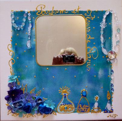 Fleurs et  parfums de Paris bleu 60x60