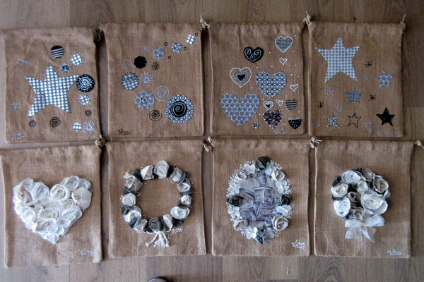 Pochettes lin avec cordon 8 pcs 30x25 cm