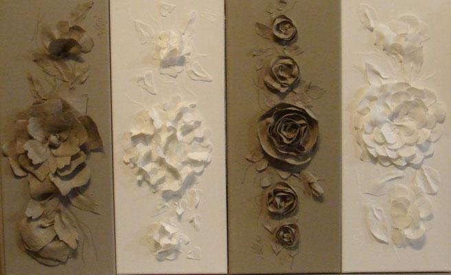 Découpages lin et blanc 4x20x50