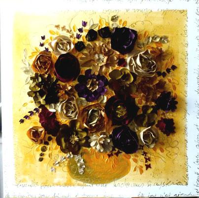 Bouquet sur ocre 70x70