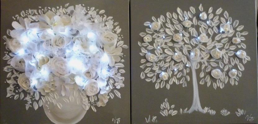 """Arbre et bouquets avec leds """" 2x50x50"""