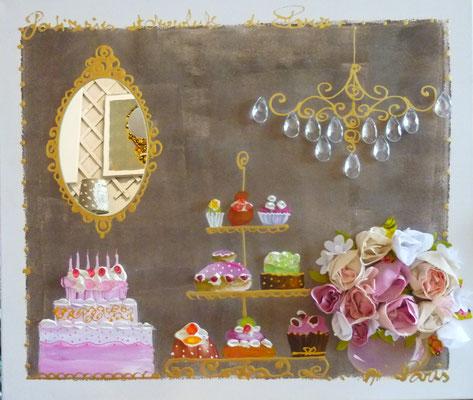 Fleurs et gâteaux 60x70