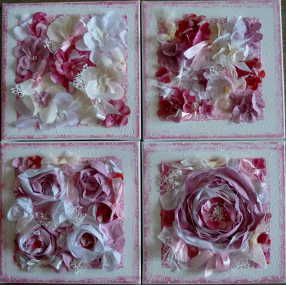 Fleuries roses 4x30x30