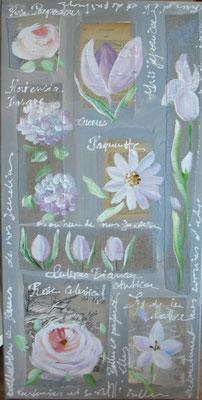 Fleurs sur lin et papier 40x80