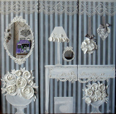 Roses blanches et stucs 3x50x150