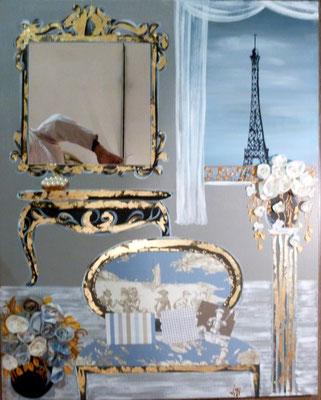 Paris à la fenêtre  80x100