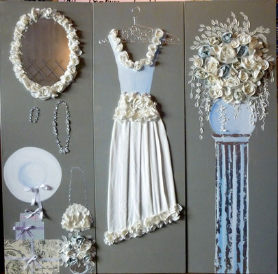 Mariage de rêve en bleu paravent 3x50x150