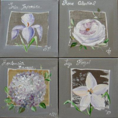 Fleurs sur lin et papier 4x30x30