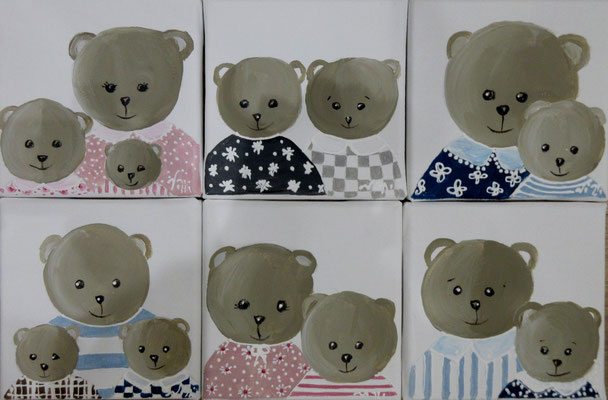Famille ours 6x15x15 cm
