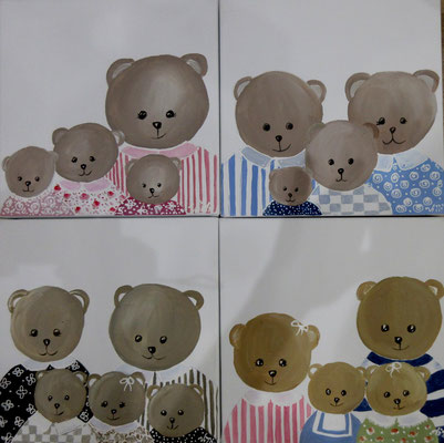 Famille ours 4x30x30 cm