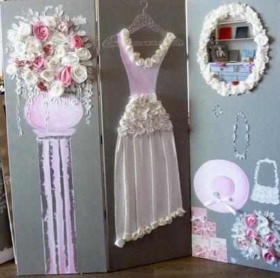 Mariage de rêve rose paravent  3x150x50
