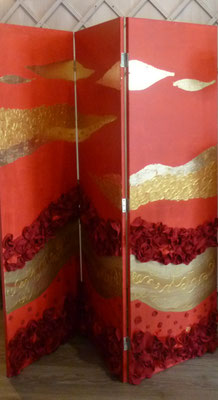 paravent rose rouge 3x50x150