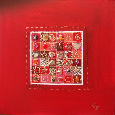 lignes et carrés rouge  70x70