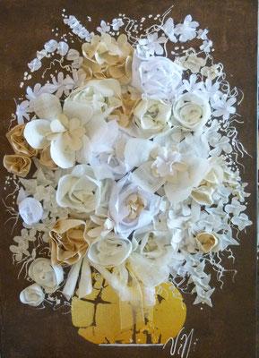 Bouquet blanc sur brun 100x80