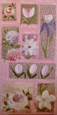 Fleurs sur tissus et papier rose 80x40