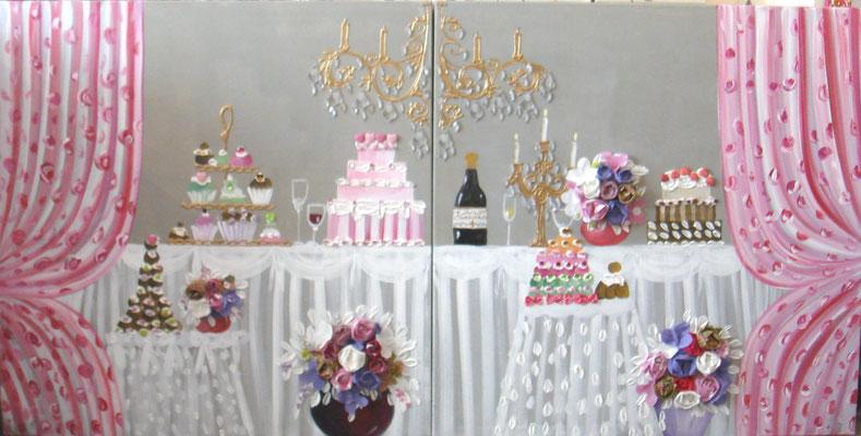 Buffet et fleurs 2x100x80