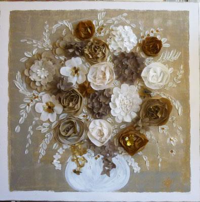 Bouquet léger sur beige 90x90