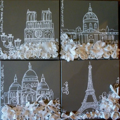 """Monuments de Paris"" 4x30x30"