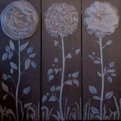 Paravent fleur de lin 150x50x3