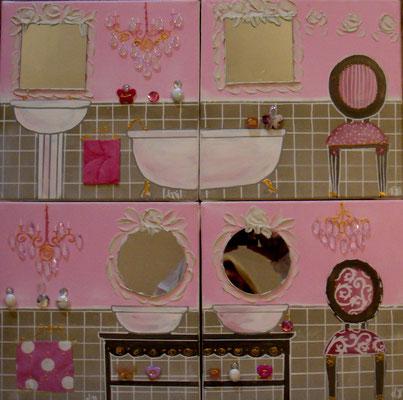 Bain rose et lin 4x30x30