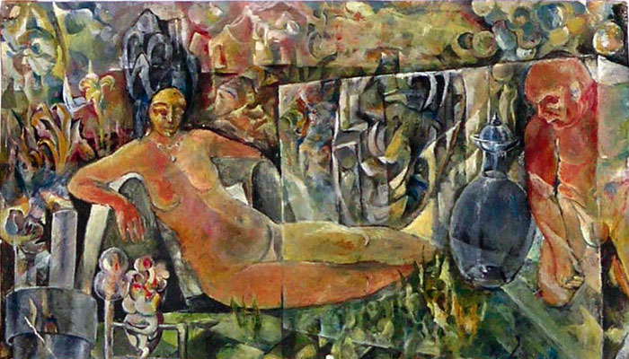 Akt, 1966,Tempera mit Dispersion, 18 x 30 cm