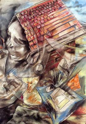 Drachen VIII, 1984, Pastell auf Papier, 70 x 100 cm
